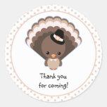 Cute Turkey Thank You Round Sticker