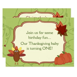 Cute Turkey Thanksgiving 1st Birthday Invitation
