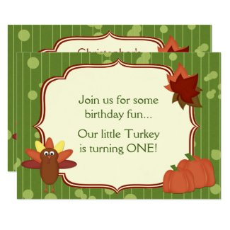 Cute Turkey Thanksgiving 1st Birthday Party Invite