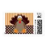 Cute Turkey Thanksgiving Cartoon - Brown & Orange Postage Stamps