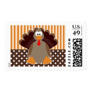 Cute Turkey Thanksgiving Cartoon - Brown & Orange Postage