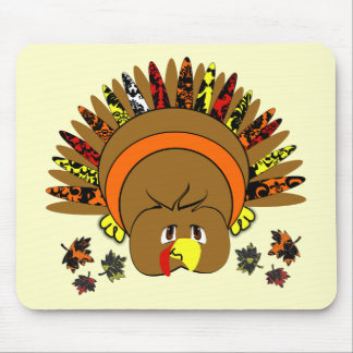 Cute Turkey Thanksgiving Choose Background Color Mouse Pad