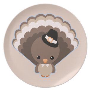 Cute Turkey Thanksgiving Day Melamine Plate  sc 1 st  Zazzle & Cute Turkey Happy Thanksgiving Plates | Zazzle