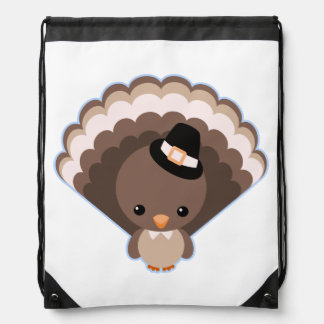 Cute Turkey Thanksgiving Day Drawstring Backpack