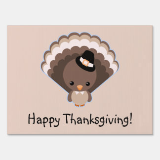 Cute Turkey Thanksgiving Day Sign