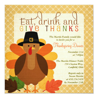Cute Turkey Thanksgiving Dinner 5.25x5.25 Square Paper Invitation Card