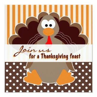 Cute Turkey Thanksgiving Feast Dinner Invitations