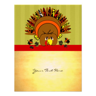 Cute Turkey Thanksgiving Flyer Personalized Announcement