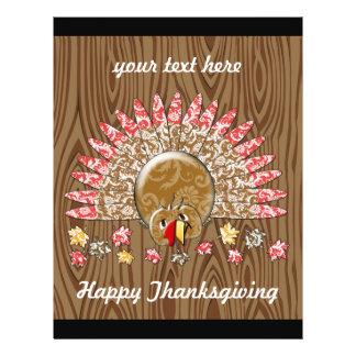 Cute Turkey Thanksgiving Flyer Wood Grain