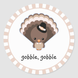 Cute Turkey Thanksgiving Gobble Classic Round Sticker