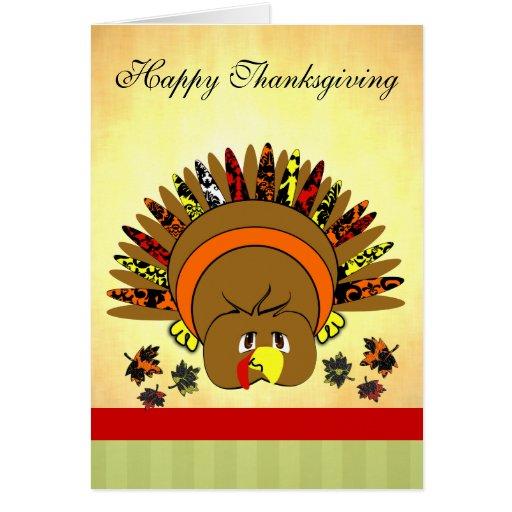 Cute Turkey Thanksgiving Greeting Card | Zazzle