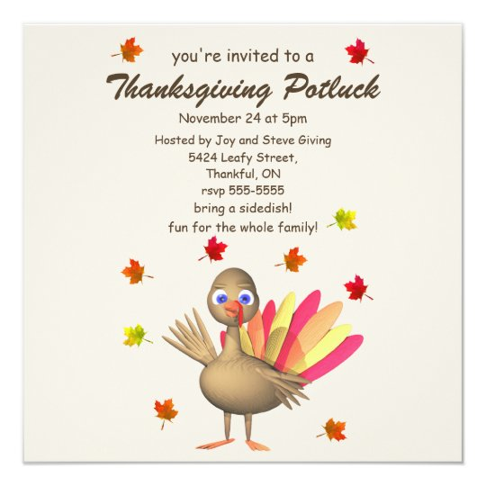Cute Turkey Thanksgiving Potluck Card