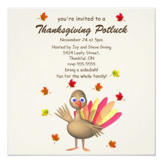 Cute Turkey Thanksgiving Potluck Invitation