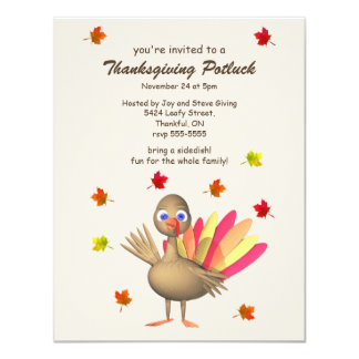 Cute Turkey Thanksgiving Potluck 4.25x5.5 Paper Invitation Card