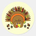 Cute Turkey Thanksgiving Stickers