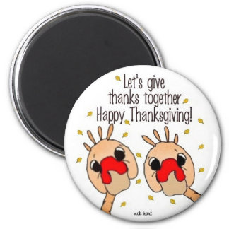 Cute Turkeys Giving Thanks 2 Inch Round Magnet