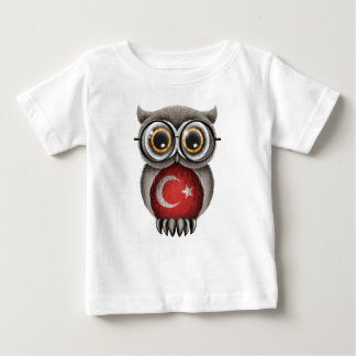 Cute Turkish Flag Owl Wearing Glasses Baby T-Shirt