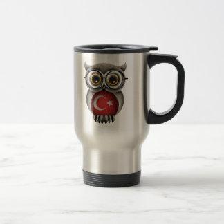 Cute Turkish Flag Owl Wearing Glasses Coffee Mugs