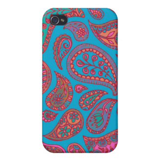 Cute Turquoise and Pink Paisley iPhone case iPhone 4 Covers