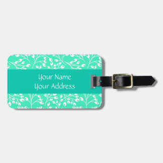 Cute turquoise and white autumn berries bag tag