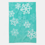 Cute turquoise and white Christmas snowflakes Kitchen Towel
