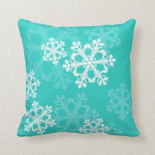 Cute Aqua Throw Pillows : Cute turquoise and white Christmas snowflakes Pillow Zazzle