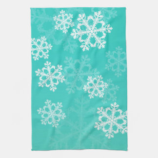 Cute turquoise and white Christmas snowflakes Towel