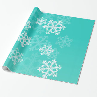 Cute turquoise and white Christmas snowflakes Wrapping Paper