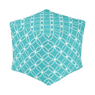 Cute Turquoise and White Circles Geometric Pattern Pouf