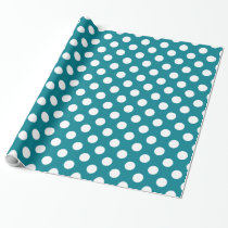 Cute Turquoise and White Polka Dot Pattern Wrapping Paper