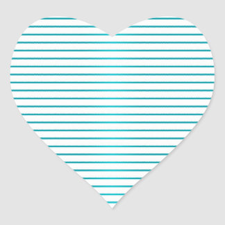 Cute Turquoise and White Stripes Heart Sticker