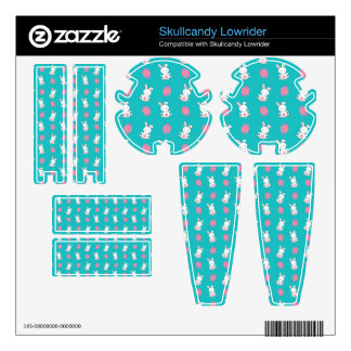 Cute turquoise baby bunny easter pattern skins for skullcandy