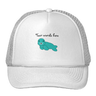 Cute turquoise baby seal mesh hats