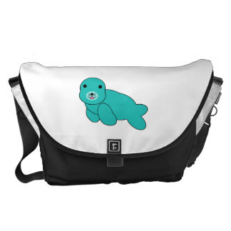 Cute turquoise baby seal messenger bag