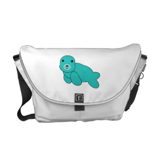 Cute turquoise baby seal messenger bags
