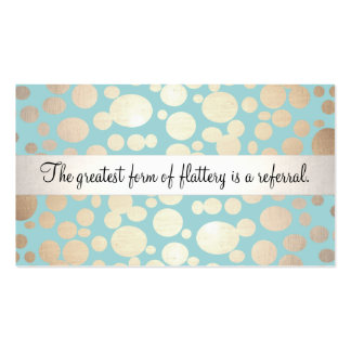 Cute Turquoise Blue and Gold Beauty Referral Card Double-Sided Standard Business Cards (Pack Of 100)
