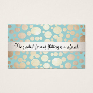 Cute Turquoise Blue and Gold Salon Referral Card