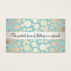 Cute Turquoise Blue and Gold Salon Referral Card at Zazzle