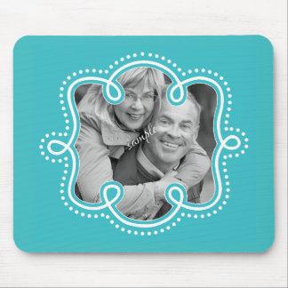 Cute Turquoise Blue Doodle Frame Photo Custom Mouse Pad