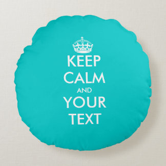 Cute turquoise blue keep calm round throw pillow