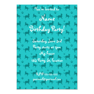Cute turquoise cats and paws pattern 5x7 paper invitation card