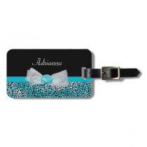 Cute Turquoise Cheetah Print Frilly Bow and Name Luggage Tag