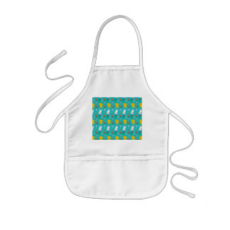 Cute turquoise chick bunny egg basket easter kids' apron
