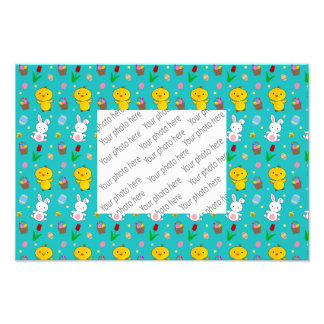 Cute turquoise chick bunny egg basket easter photo