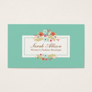 Cute Turquoise Country Floral Vintage Floral Business Card
