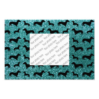 Cute turquoise dachshund glitter pattern photographic print