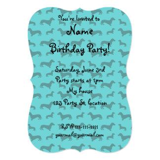 Cute turquoise dachshund pattern 5x7 paper invitation card
