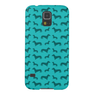 Cute turquoise dachshund pattern galaxy s5 cases