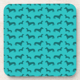 Cute turquoise dachshund pattern coaster