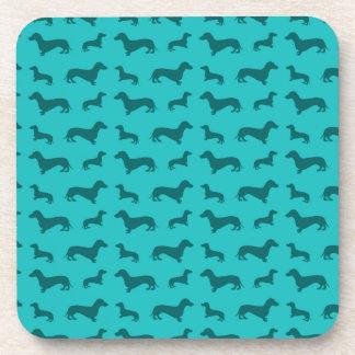Cute turquoise dachshund pattern coaster